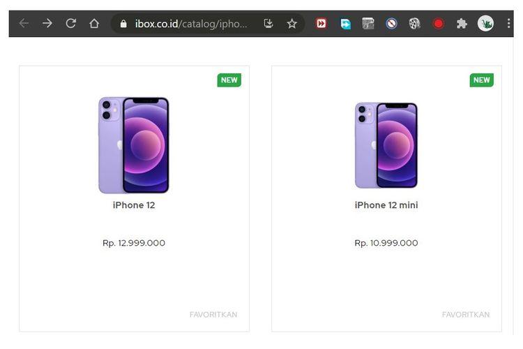 Ilustrasi iPhone 12 dan iPhone 12 mini varian Purple yang sudah terpampang di situs web iBox Indonesia.