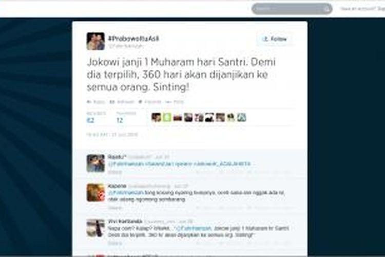 Halaman akun Twitter Fahri Hamzah yang dilaporkan menghina calon presiden Joko Widodo.