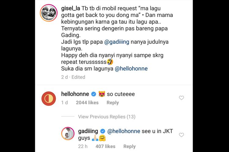 Duo musik elektronik HONNE, melalui akun Instagram @hellohonne memberikan komentar di unggahan video Gempi yang menyanyikan lagu mereka Location Unknown.