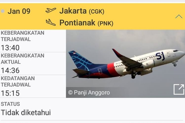 Sriwijaya Air Flight SJ182, which lost contact on Saturday (9/1/2021)