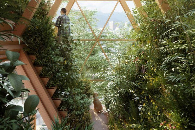 Desain rumah vertikal ini dirancang dengan bahan kerangka dengan material kayu laminasi (CLT).
