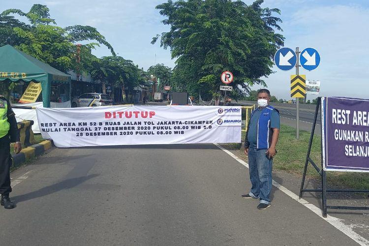 Rest Area KM 58B Tol Jakarta - Cikampek arah Jakarta ditutup sementara, Minggu (27/12/2020)