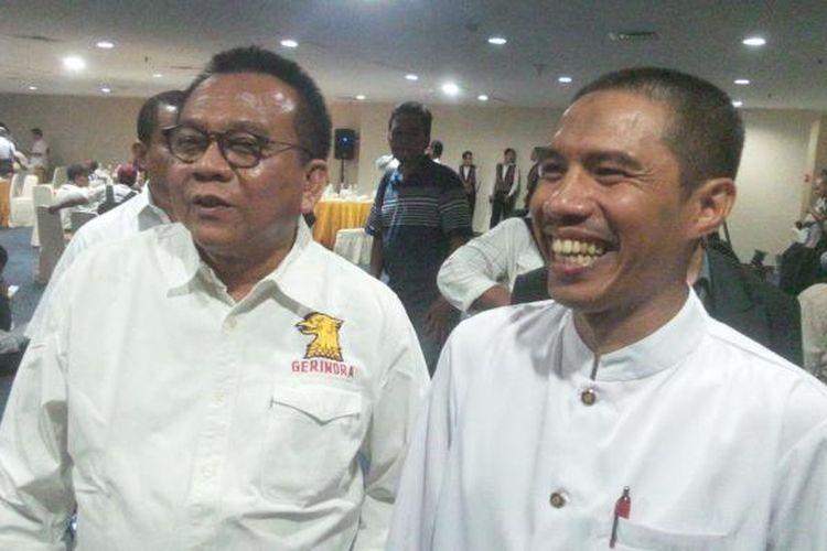 Ketua DPD Partai Gerindra DKI Jakarta Mohamad Taufik (kiri) bersama dengan Ketua DPW PKS Syakir Purnomo usai acara penjaringan bakal calon gubernur Gerindra, di Hotel Sari Pan Pacific, Jakarta Pusat, Rabu (27/1/2016)