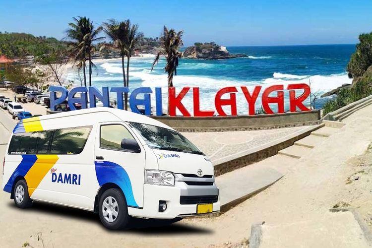 Ilustrasi rute DAMRI ke Pantai Klayar, Pacitan