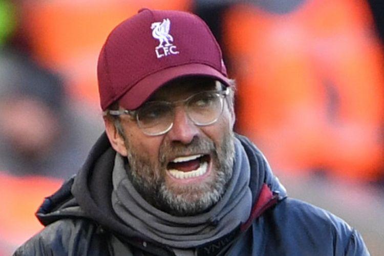 Ekspresi pelatih Liverpool FC, Juergen Klopp, dalam laga Liga Inggris melawan Cardiff City di Stadion Anfield, Liverpool pada 27 Oktober 2018.