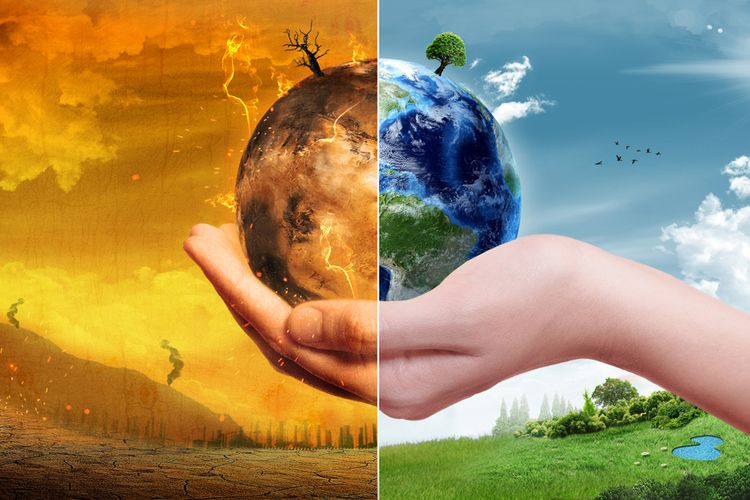 Ilustrasi dampak perubahan iklim pada bumi