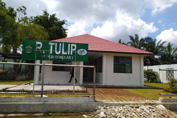 Ruang isolasi Tulip bagi pasien Covid-19 di RSUD Abdul Wahab Sjahranie, Samarinda, Kalimantan Timur, Senin (27/1/2020).