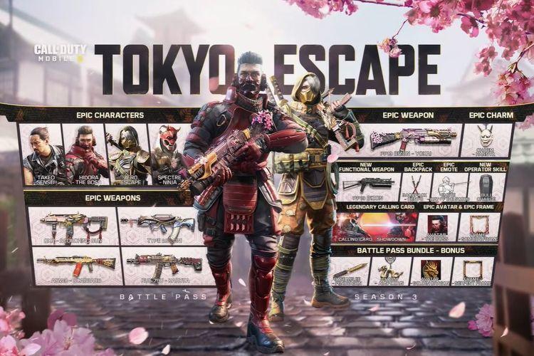 Ilustrasi konten Battle Pass Tokyo Escape di Call of Duty Mobile.