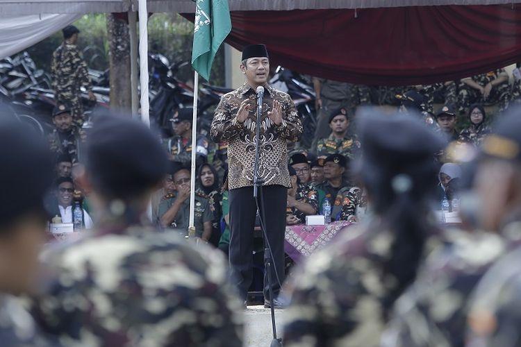 Wali Kota Semarang Hendrar Prihadi, saat menghadiri Apel Kebangsaan Banser Ansor, di Lapangan Cepoko Gunungpati, Minggu (23/2).