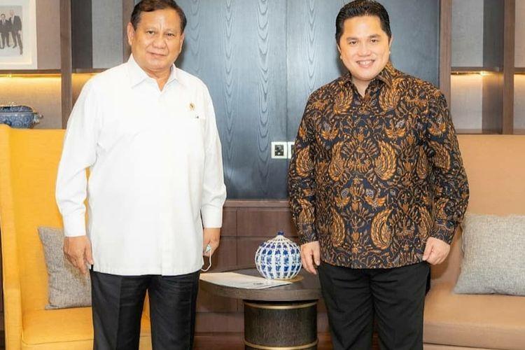 Menteri BUMN Erick Thohir melakukan pertemuan dengan Menteri Pertahanan Prabowo Subianto di Kantor Kementerian BUMN, Jakarta, Kamis (11/6/2020)