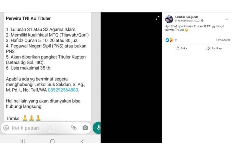 Tangkapan layar unggahan hoaks yang menyebut Tentara Nasional Indonesia Angkatan Udara (TNI AU) membuka penerimaan perwira tituler pada 2021.