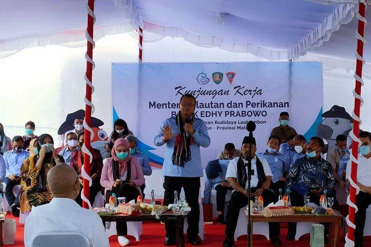 Menteri Kelautan dan Perikanan Edhy Prabowo saat berada di Ambon, Minggu (30/8/2020)