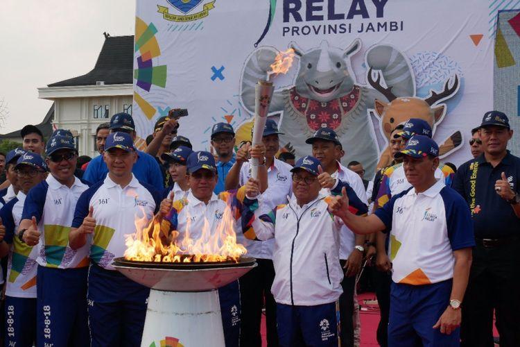 PGN berpartisipasi dalam torch relay Asian Games 2018 di Kota Jambi, Jumat (3/8/2018)