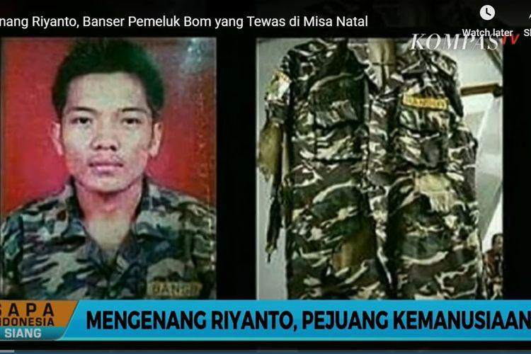 Tangkapan layar dari KompasTV tentang sosok Riyanto.