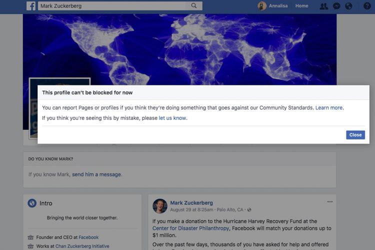 Pesan error yang muncul ketika pengguna Facebook coba memblokir akun milik Mark Zuckerberg.