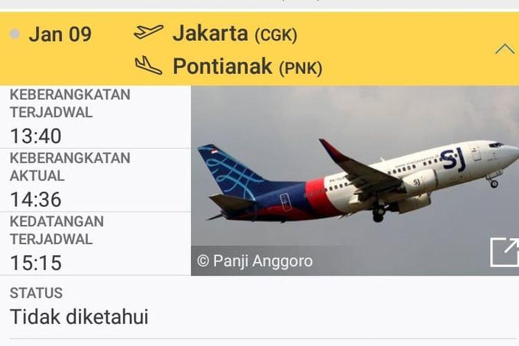 Sriwijaya Air penerbangan SJ182 dilaporkan hilang kontak Sabtu (9/1/2021).