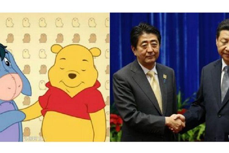 Meme Presiden China, XI Jinping, disandingkan dengan Winnie the Pooh.