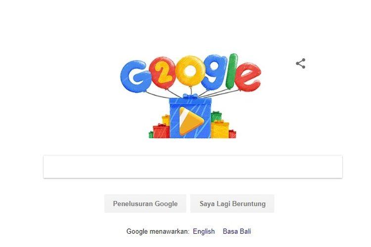Google merayakan hari ulang tahunnya yang ke 20 lewat doodle