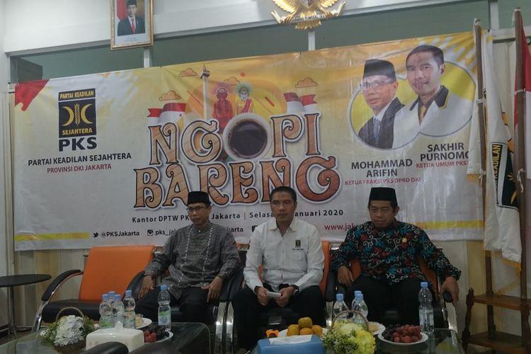 Press conference di DPW PKS,  Cempaka Putih, Jakarta Pusat,  Selasa (21/1/2020).