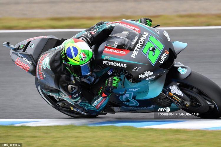 Pebalap Petronas Yamaha SRT, Franco Morbidelli, menjalani sesi latihan kedua di Twin Ring Motegi, Jepang, Jumat (18/10/2019).