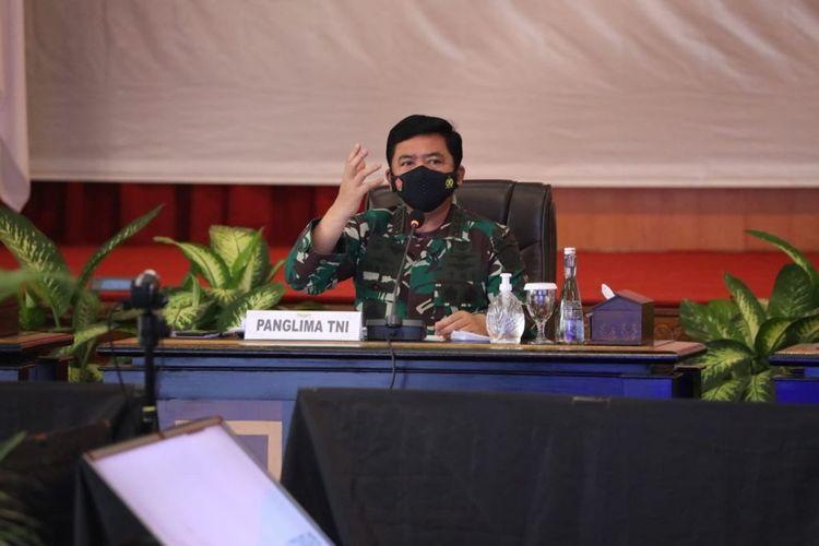 Panglima TNI Marsekal Hadi Tjahjanto mengatakan saat memimpin dialog bersama Forkopimda, di Kantor Pemerintah Provinsi Jambi, Jumat (17/9/2021).
