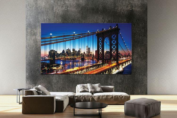 Iluatrasi layar televisi micro LED Samsung Electronic yang diluncurkan di CES 2020