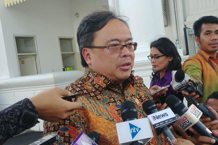Kepala Badan Perencanaan dan Pembangunan Nasional Bambang Brodjonegoro di Istana, Senin (12/2/2018).