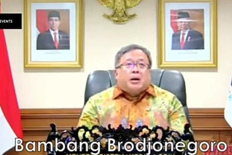 Minister of Research and Technology Bambang Brodjonegoro at a webinar on Wednesday  (31/3/2021).