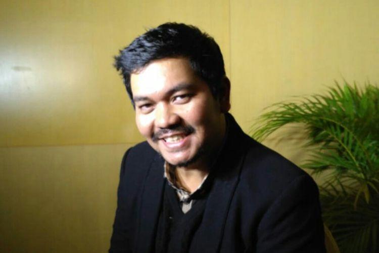 Presenter Indra Bekti saat ditemui dalam sebuah acara teknologi finansial di kawasan Grogol, Jakarta Barat, Minggu (31/3/2019).