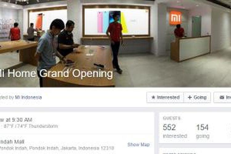 Undangan event pembukaan Mi Home Indonesia di Facebook resmi Xiaomi Indonesia.