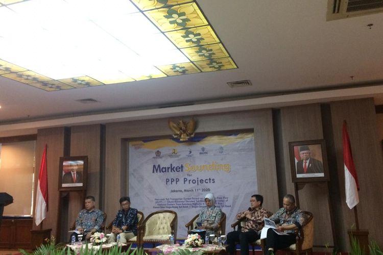 Penajajakan minat pasar lima proyek infrastruktur di Kementerian PUPR, Jakarta, Rabu (11/3/2020).