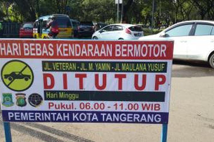 Car Free Day (CFD) di Kecamatan Tangerang disudahkan pada pukul 08.15 WIB, Minggu (5/4/2015). Padahal, menurut jadwal kegiatan CFD berlangsung hingga pukul 11.00 WIV.