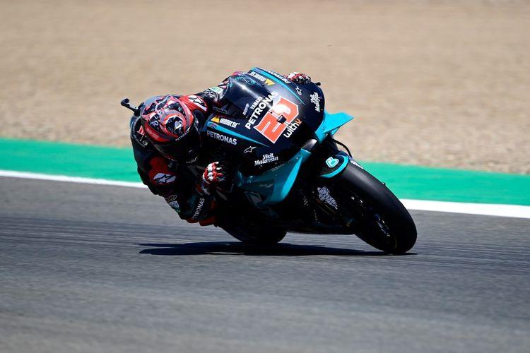 Pebalap Petronas Yamaha SRT, Fabio Quartararo, menjalani balapan MotoGP Spanyol di Sirkuit Jerez, Minggu (19/7/2020).