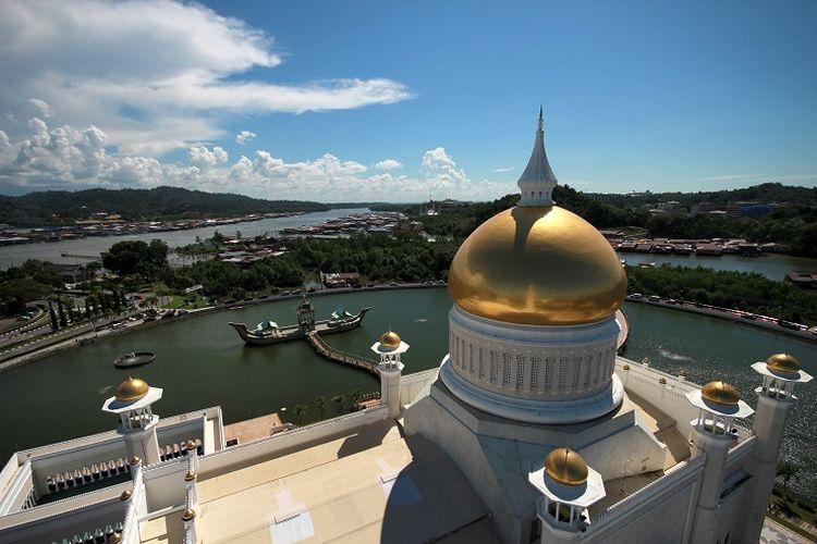 Ilustrasi Brunei Darussalam - Masjid Sultan Omar Ali Saifuddien.