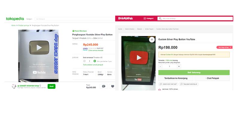 Tangkapan layar penjual plakat Silver Play Button dan Gold Play Button palsu di Tokopedia dan Bukalapak.