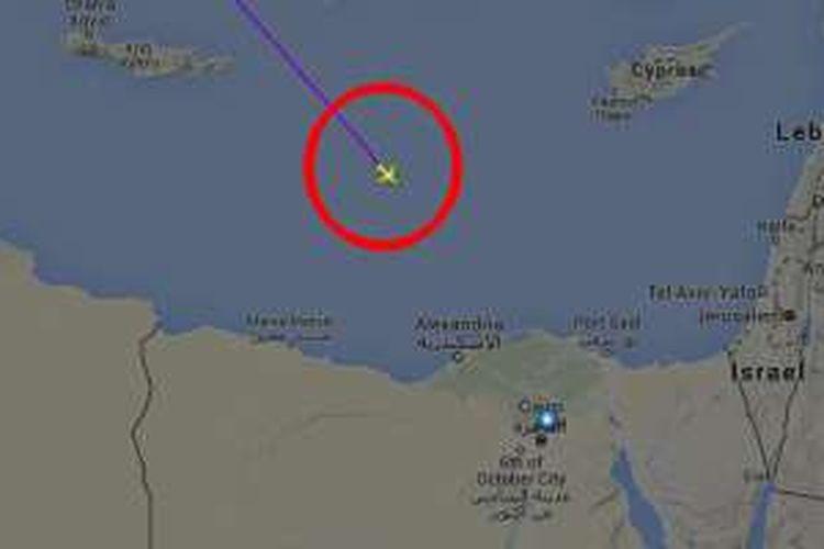 Posisi terakhir EgyptAir MS804 yang terpantau radar.