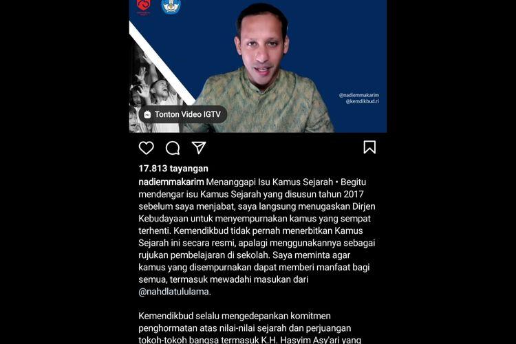 Mendikbud menjelaskan kasus kamus sejarah Indonesia yang tidak memuat sejarah pendiri NU.