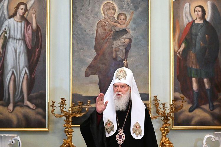 Patriark Filaret, Pemimpin Gereja Ortodoks Ukraina, ketika berbicara di hadapan awak media di Kiev pada 15 Mei 2019.