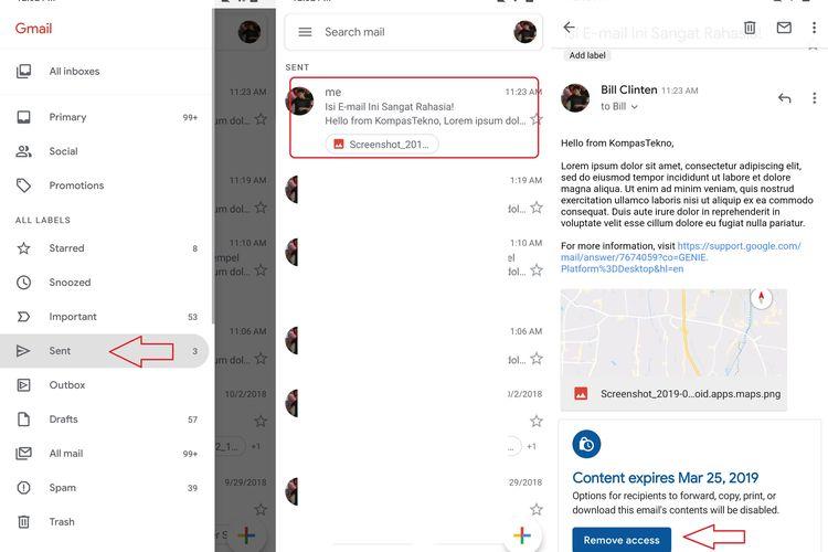 Ilustrasi menghapus akses Confidential Mode Gmail