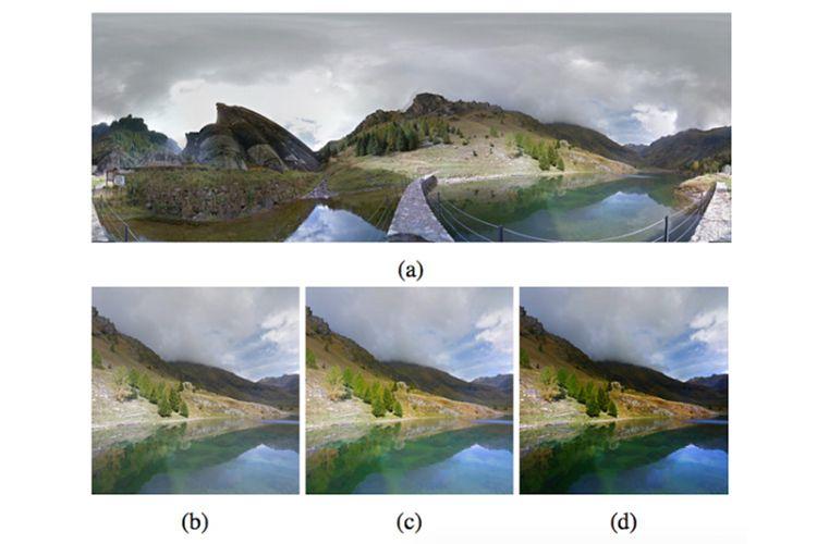 AI Goole mencari pemandangan panorama di Street View (a), melakukan cropping (b), menaikkan saturasi dan tingkat HDR (c), kemudian menambah dramatic mask (d). Tiap langkah disertai dengan pertimbangan estetika yang sudah diprogram sebelumnya.
