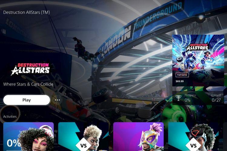 Menu Explore pada PS5 menampilkan informasi seputar game yang dipilih