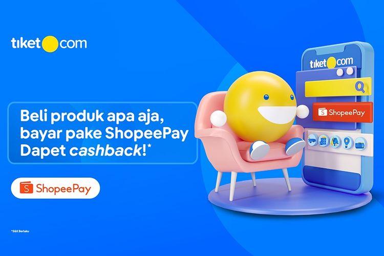 Ilustrasi promo cashback ShopeePay untuk bertransaksi di Tiket.com