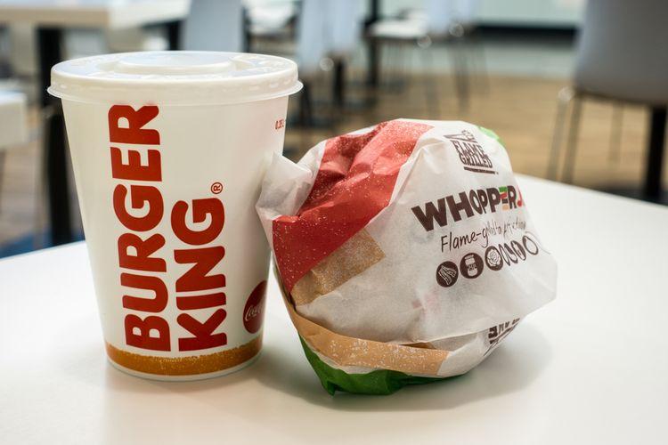 Ilustrasi menu di Burger King.