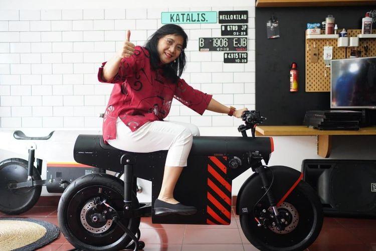 Motor listrik karya Katalis Company yang akan diikutsertakan dalam kegiatan pameran di Macau, China, pada akhir Agustus ini, Senin (24/8/2020).