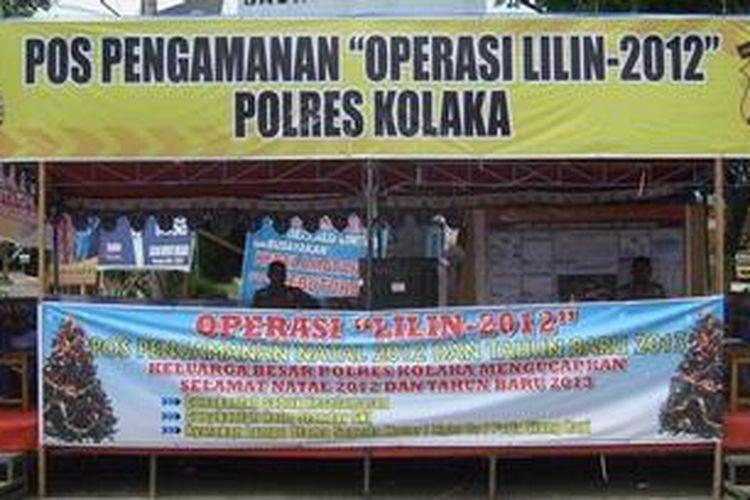 Ilustrasi: Salah satu pos pengamanan yang didirikan Polres Kolaka tahun 2012.