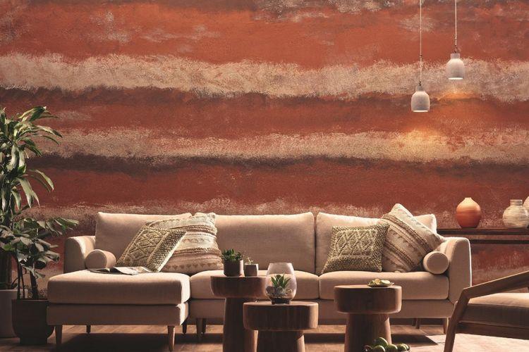 Penggunaan cat efek khusus untuk memberikan tekstur ke dinding.