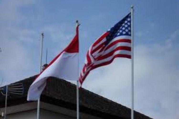 Ilustrasi bendera Indonesia dan bendera Amerika Serikat.