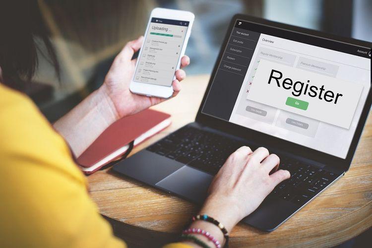 Ilustrasi melakukan pendaftaran secara online