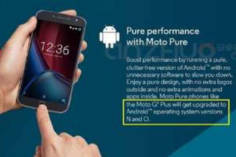 Poster komersil Motorola menyebut ponsel Moto G4 Plus bakal mendukung upgrade ke Android N dan Android O