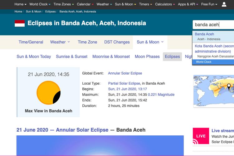 Tangkapan layar web timeanddate.com untuk cara cek waktu dan lokasi gerhana matahari